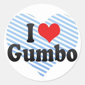 I Love Gumbo Round Stickers