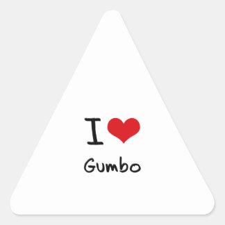I Love Gumbo Triangle Sticker