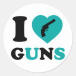 I Love Guns Round Sticker