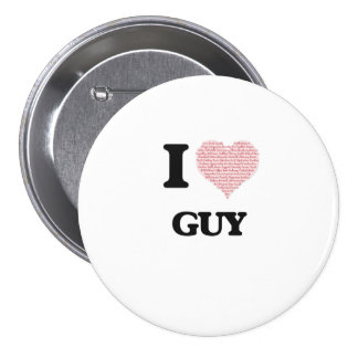 I Love Guy (Heart Made from Love words) 7.5 Cm Round Badge