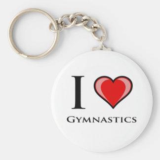 I Love Gymnastics Basic Round Button Key Ring