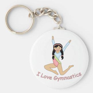 I Love Gymnastics Black Hair Basic Round Button Key Ring