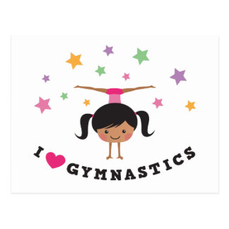 I love gymnastics cartoon girl, african american post cards
