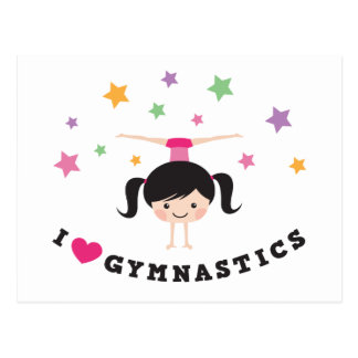 I love gymnastics cartoon girl doing handstand postcard