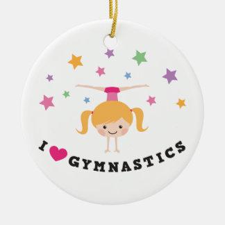 I love gymnastics cartoon girl doing handstand round ceramic decoration