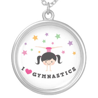 I love gymnastics cartoon girl doing handstand silver plated necklace