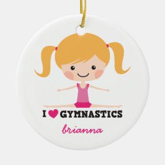 I love gymnastics cartoon girl personalized name christmas ornament