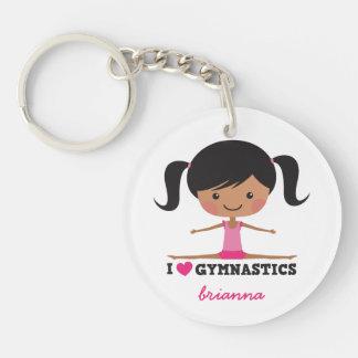 I love gymnastics cartoon girl personalized name Double-Sided round acrylic key ring