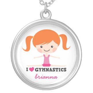 I love gymnastics cartoon girl personalized name pendants