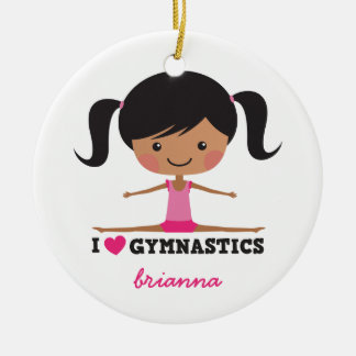 I love gymnastics cartoon girl personalized name round ceramic decoration