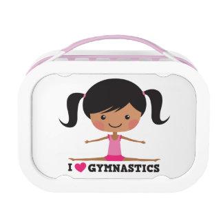 I love gymnastics cartoon girl side splits lunch box