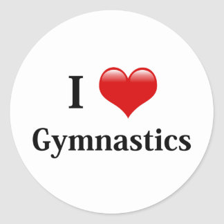 I Love Gymnastics Classic Round Sticker