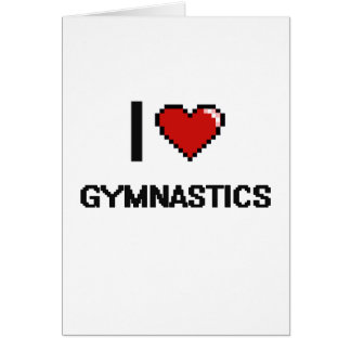 I Love Gymnastics Digital Retro Design Greeting Card