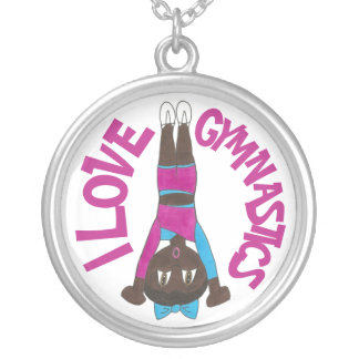 I Love Gymnastics Gymnast Tumbling Girl Acrobatics Silver Plated Necklace