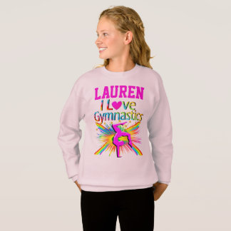 I LOVE GYMNASTICS PERSONALIZED SWEATSHIRT