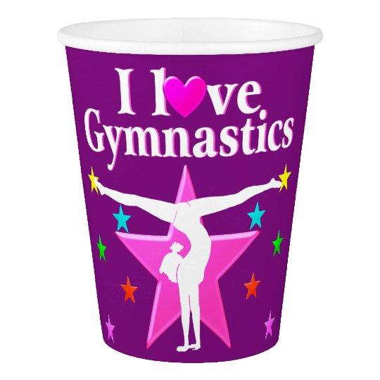 I LOVE GYMNASTICS PINK AND PURPLE PAPER CUPS