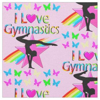 I LOVE GYMNASTICS RAINBOW GYMNAST GIRL DESIGN FABRIC