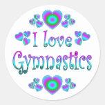 I Love Gymnastics Round Sticker