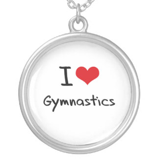 I Love Gymnastics Silver Plated Necklace