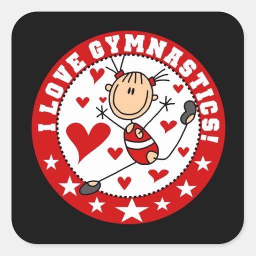 I Love Gymnastics Square Sticker