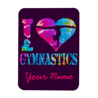 I Love Gymnastics Tie Dye Heart Handstand Magnet