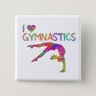 I Love Gymnastics Tie Dye Shirts Bags Stickers etc 15 Cm Square Badge
