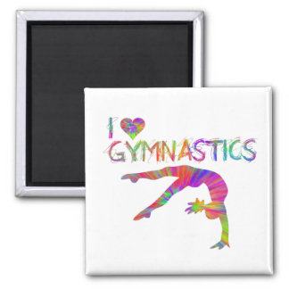 I Love Gymnastics Tie Dye Shirts Bags Stickers etc Square Magnet