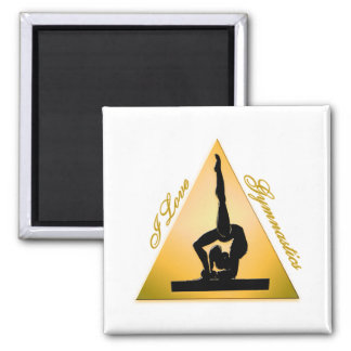 i Love Gymnastics triangle #6 Square Magnet