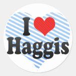 I Love Haggis Round Stickers