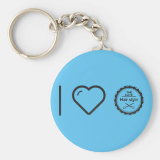 I Love Hair Competents Basic Round Button Key Ring