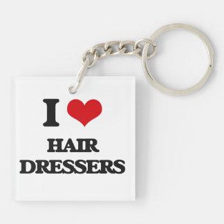 I love Hair Dressers Square Acrylic Key Chain