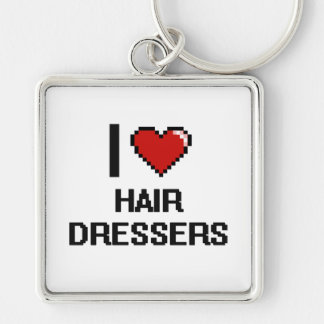 I love Hair Dressers Silver-Colored Square Key Ring