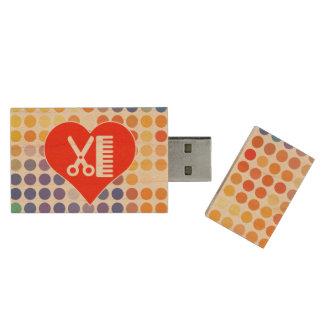 I Love Hairdresser Wood USB 2.0 Flash Drive