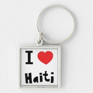 I love Haiti Silver-Colored Square Key Ring