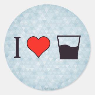 I Love Half Full Glass Round Sticker