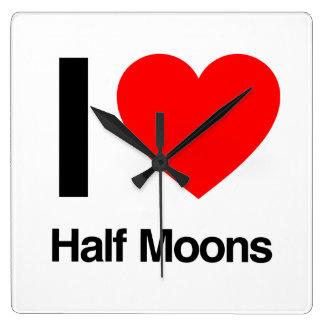 i love half moons square wallclocks