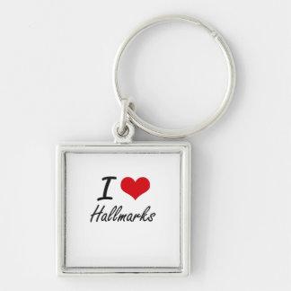 I love Hallmarks Silver-Colored Square Key Ring