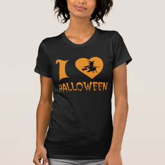 I Love Halloween With Scary Witch Flying her Broom Tee Shirts