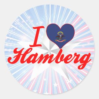 I Love Hamberg, North Dakota Round Stickers
