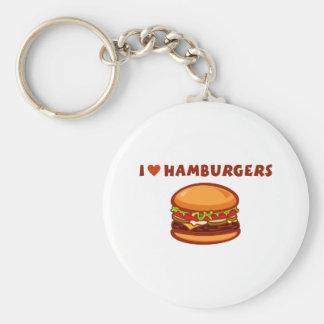 I Love Hamburgers Key Chain
