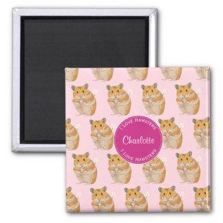 I love Hamsters Pink Hamster Pattern Magnet