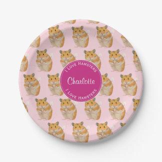 I love Hamsters Pink Hamster Pattern Paper Plate