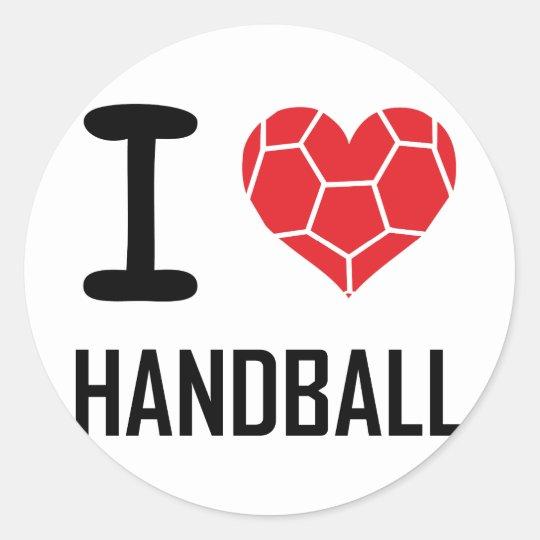 I love handball classic round sticker