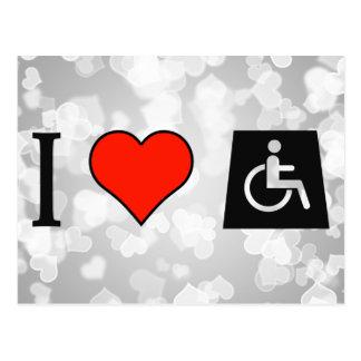 I Love Handicapped Postcard