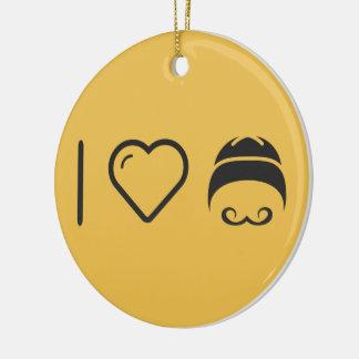 I Love Handlebar Moustaches Christmas Ornament