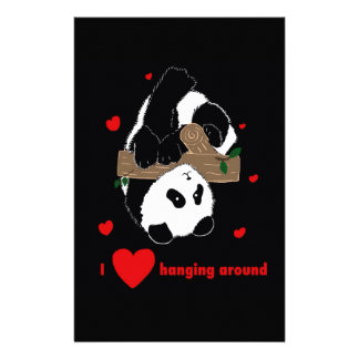 I love hanging around Funny Cute Panda tree Personalized Stationery