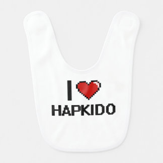 I Love Hapkido Digital Retro Design Bib