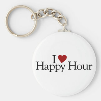 I Love Happy Hour Basic Round Button Key Ring