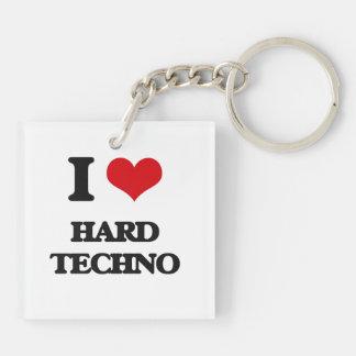I Love HARD TECHNO Square Acrylic Key Chain