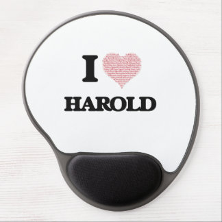 I Love Harold (Heart Made from Love words) Gel Mouse Pad